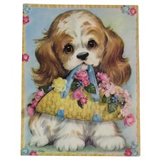 1950s Coby Embossed Oversized Cocker Spaniel Puppy Dog Greeting Card Unused with Envelope