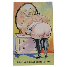 1940s Walt Munson Signed Humorous Postcard Unused Tichnor Views Risque