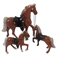 Cast Metal Prancing Horse Family 3 Horses