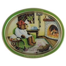 Sleepytime Tea Teddy Bear and Cat Advertising Tray from Celestial Seasonings Herb Teas Autumn Fall Colors - Red Tag Sale Item