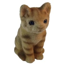 Vintage Fuzzy Kitty Cat Bank Furry Flocked Faux Fur