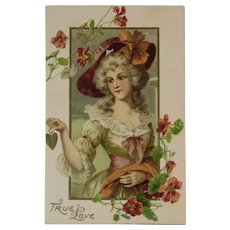 German Romantic True Love Embossed Postcard Lady with Flowers Rotograph Co Germany