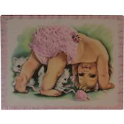 1950s Embossed Oversized Kittens & Baby Girl Get Well Card Unused with Envelope Kitty Cats