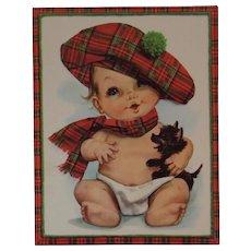 1950s Embossed Oversized Scottie Dog & Baby Get Well Card Unused with Envelope Tam O Shanter Scottish Scot Tartan Puppy