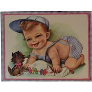 1950s Embossed Oversized Kitten and Baby Birthday Card Unused with Envelope Kitty Cat