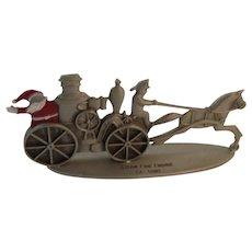 Pewter Miniature Santa Riding a Steam Fire Engine Vintage Hallmark Christmas 1981 Fireman Firefighter