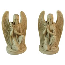 Bianchi Italy Angel Book Ends Vintage Italian Carved Bookends