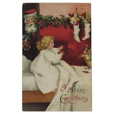 1908 German Santa and Little Girl Postcard International Art Publishing Co IAP Germany Embossed
