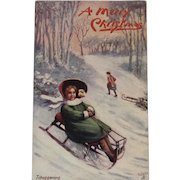 Tuck's Oilette Tobogganing Christmas Postcard Merry Winter Series
