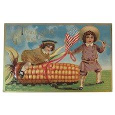Embossed Patriotic Thanksgiving Postcard Embossed Edwardian American Flag Children and Ear of Corn