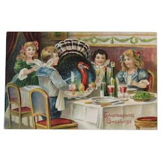German Thanksgiving Postcard with Children and Turkey Eating Dinner and Drinking Wine Germany Embossed Saxony