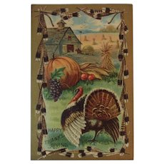 1909 MW Taggart Thanksgiving Embossed Postcard Turkey Pumpkins Corn and Autumn Fall Farm Scene