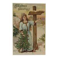 German Embossed Christmas Postcard with Angel, Tree and Cross Germany