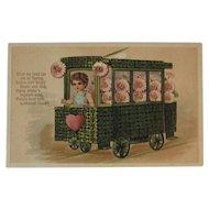 German Shamrock Trolley Car Postcard Embossed Germany Pink Flowers and Heart PFB