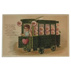 German Shamrock Trolley Car Postcard Embossed Germany Pink Flowers and Heart PFB
