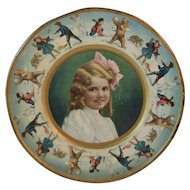 1907 Tin Litho Girl and Bears Plate Union Pacific Tea Company Polar Bears Kids and Snowmen Throwing Snowballs