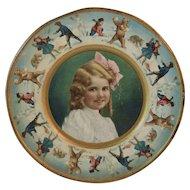 1907 Tin Litho Girl and Bears Plate form Union Pacific Tea Company Polar Bears Kids and Snowmen Throwing Snowballs