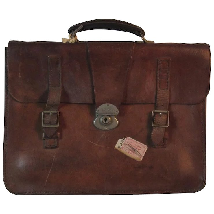 Vintage English Leather Valise Attache Case Satchel Briefcase Luggage