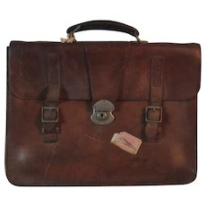 Vintage English Leather Valise, Attache Case, Satchel, Briefcase, Luggage