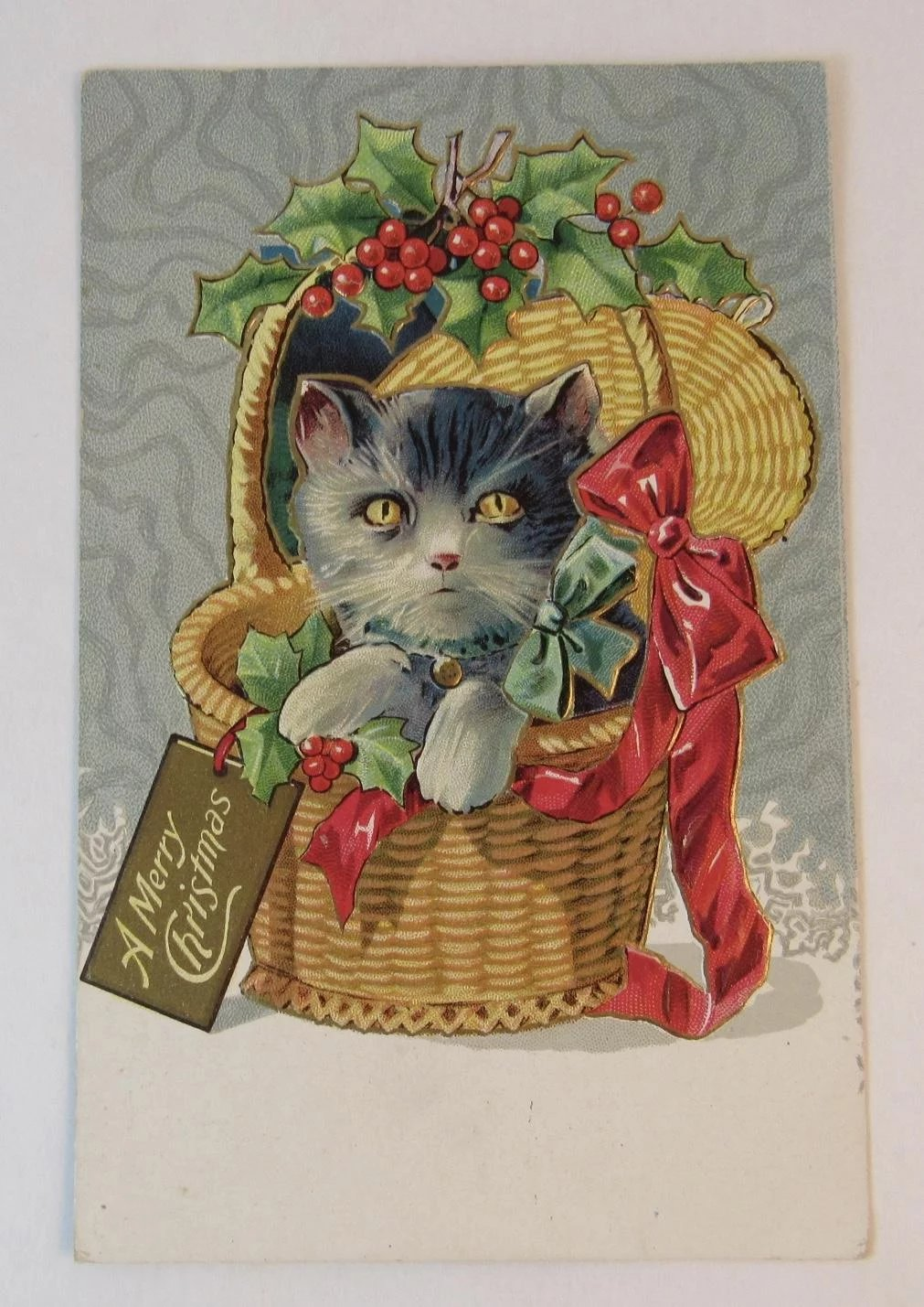 Christmas Kitty Cat In A Gift Basket With Red Bow And Holly Embossed