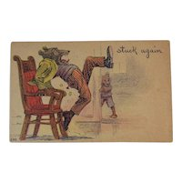 1908 Teddy Bear Humorous Postcard Stuck Again Prank 249