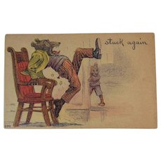1908 Teddy Bear Humorous Postcard Stuck Again Prank 249