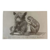 1911 V. Colby Bear and Monkey Postcard Artist Signed