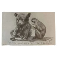 1911 V. Colby Bear and Monkey Postcard Artist Signed
