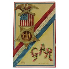 1911 Clapsaddle Signed GAR Grand Army of the Republic Civil War Union Veteran Postcard IAP International Art Publishing Co Germany German Embossed