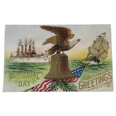 US Navy Battleship Memorial Day Embossed Postcard Unused with The USS Maine Pre WWI or Spanish American War Era American Eagle and Liberty Bell - Red Tag Sale Item