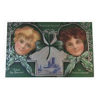 Embossed St. Patrick's Day Postcard True Irish Hearts, Erin Go Bragh, The Shamrock Forever Pretty Irish Lasses Unused