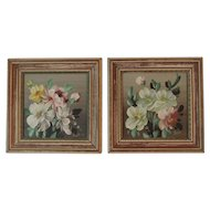 Pair of Signed Floral Oil Paintings Eastern Pennsylvania Mennonite Folk Art by Scott circa 1940s - 1950s era