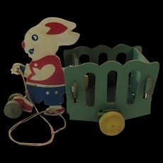 1940s Easter Bunny Candy Container Cart Pull Toy - Red Tag Sale Item