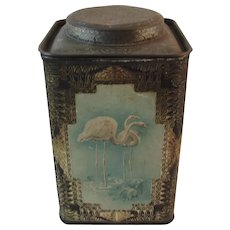 Frean & Co Flamingo Embossed Biscuit Tin London England