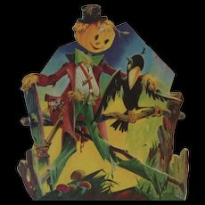 Dennison Halloween Scarecrow and Crow Vintage Die Cut Cardboard Decoration - Red Tag Sale Item