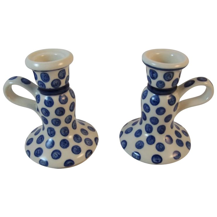 Polish Pottery Candle Holders Candlesticks Tableware Blue and White ...