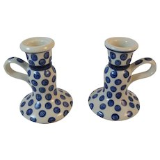Polish Pottery Candle Holders Candlesticks Tableware Blue and White Polka Dot Pattern Candle Sticks