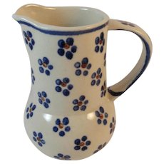 Polish Pottery Pitcher Boleslawiec Tableware Folk Art Perfect for Cream, Syrup or Gravy