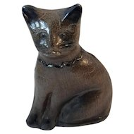 Beaumont Pottery Cat Cobalt Blue Decorated with Crackled Salt Glaze