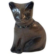 Beaumont Pottery Cat Cobalt Blue Decorated with Crackled Salt Glaze