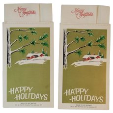 Novelty Christmas New Year Hanky Cards Fold to Fit Pocket by Style Rite Hanky Co Handkerchiefs