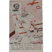 1932 Amelia Earhart Christens the Hudson Essex Terraplane Motor Car Postcard Automobile Advertising