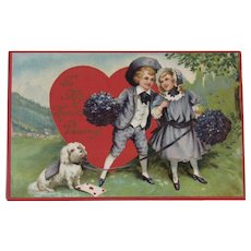 Antique German Embossed Sweetheart Postcard Children with Dog Red Heart Valentine Series Germany