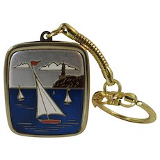 Sankyo Music Box Key Chain Keychain with Sailboats Works and Plays Music Box Dancer in Original Box