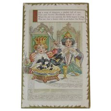 Sing a Song of Six Pence Postcard Nursery Rhyme Embossed Unused Sixpence