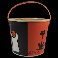 Loft's Halloween Candy Container Bucket Trick or Treat Black Cat Ghost Pumpkins Witch on Broomstick Lily Nestrite Container Lily-Tulip Candies Advertising Jack O Lantern - Red Tag Sale Item