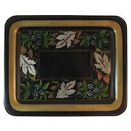 Vintage Stencilled Tole Tray Autumn Leaves Stencil Leaf and Flowers Gold Border Tin Fall Colors