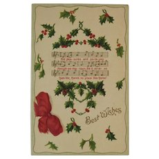 German Embossed Christmas Holly Postcard with Music and Lyrics to There's No Place Like Home Germany Chromo