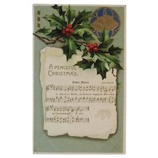 German Christmas Carol Adeste Fideles Music and Lyrics Embossed Christmas Postcard Germany