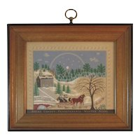 Bucks County Pennsylvania Winter Scene Folk Art Print